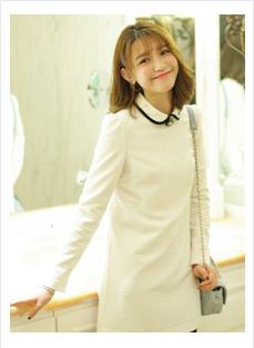 黑白横条长裙